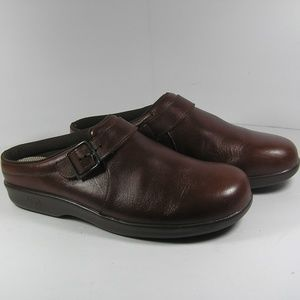 SAS Comfort Clogs Mules Brown Leather Size 11